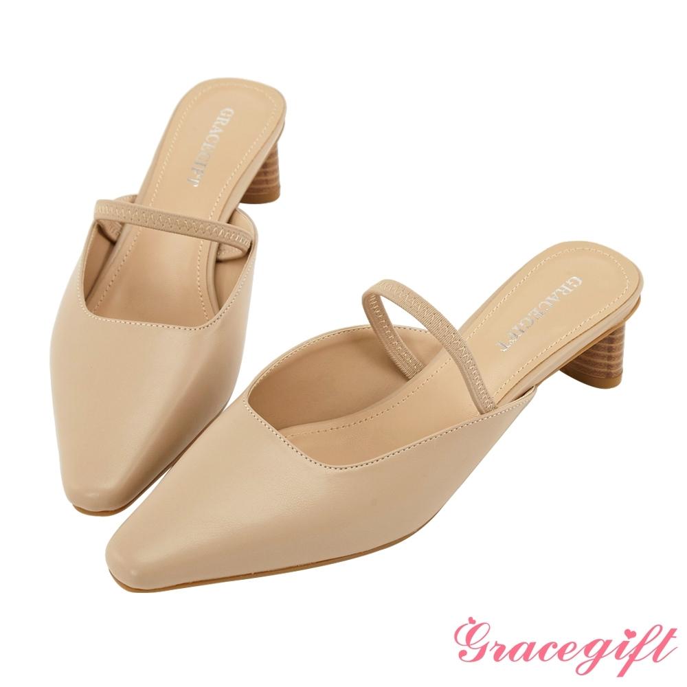 Grace gift-繫帶方口木紋造型中跟鞋 杏