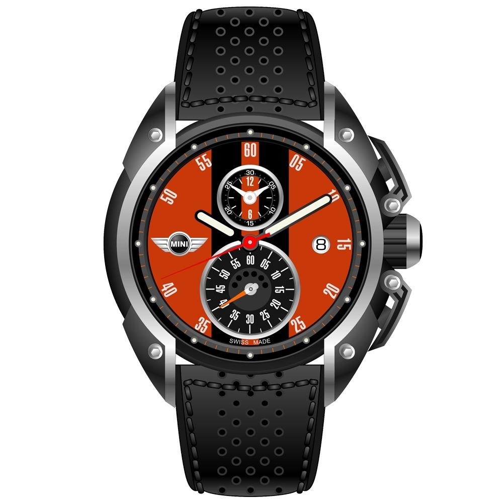 MINI Swiss Watches 石英錶 45mm 橘底黑條兩眼計時 黑色真皮錶帶