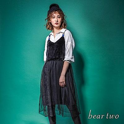 beartwo 天鵝絨細肩帶唯美網紗洋裝(二色)