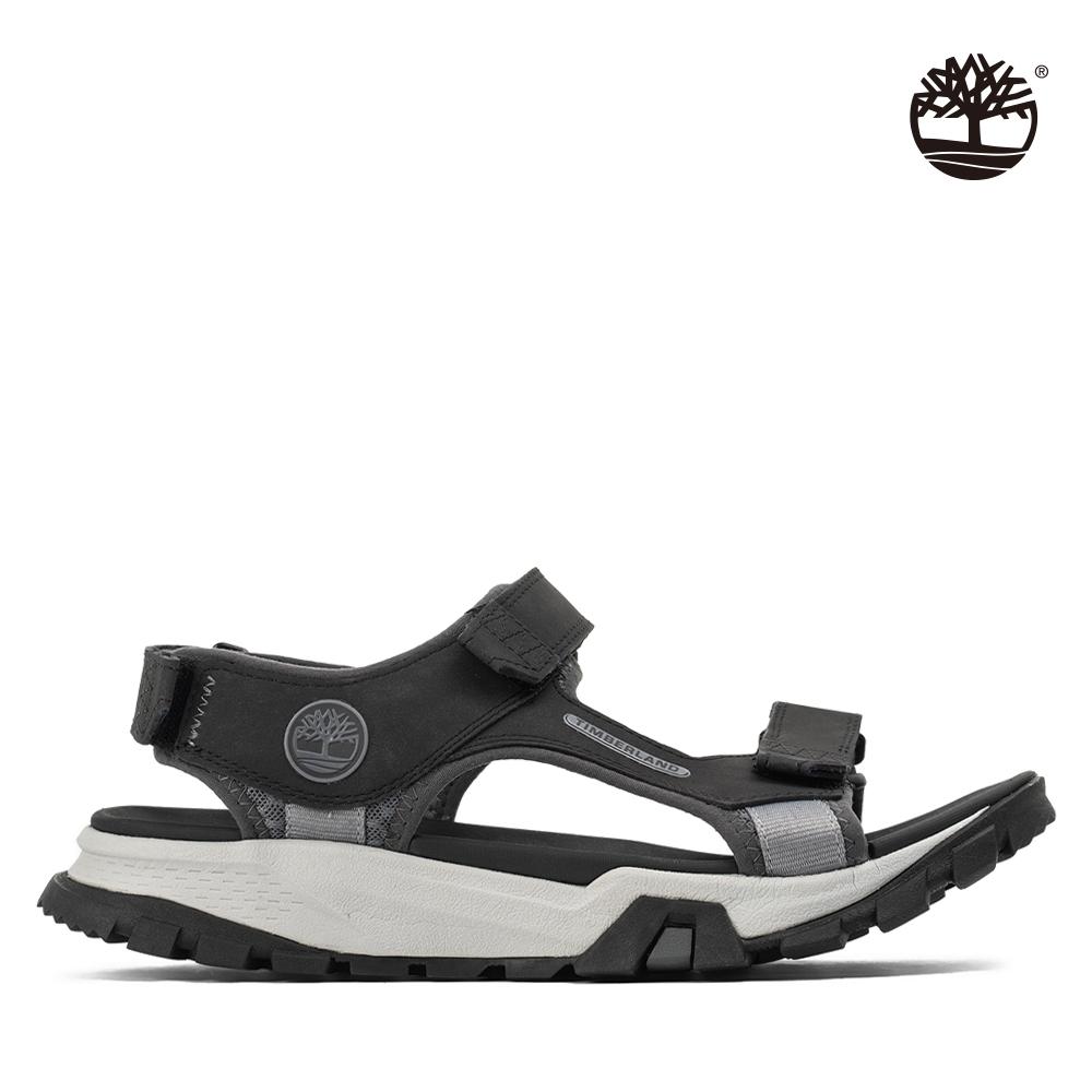 Timberland 男款黑色皮革魔鬼氈黏式涼鞋|A29KQ