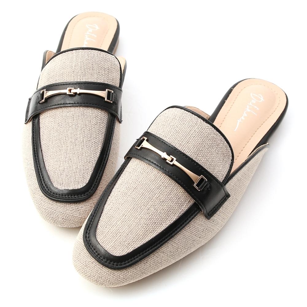 D+AF 愜意經典.馬銜釦拼接平底穆勒鞋*黑