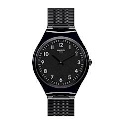 Swatch 超薄金屬系列 SKINCOAL炭黑手錶