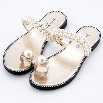 River&Moon拖鞋 名媛奢華珍珠水鑽夾趾平底涼拖 金