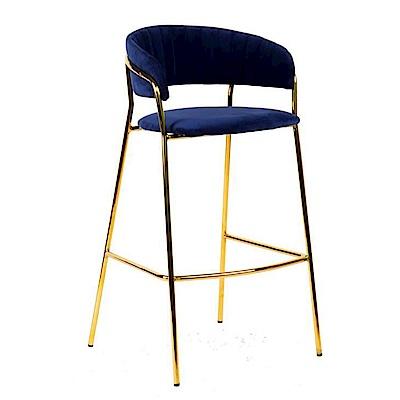 AT HOME-英式輕奢華鐵藝深藍布餐椅/吧檯椅/吧台椅(52*52*102cm)杜林