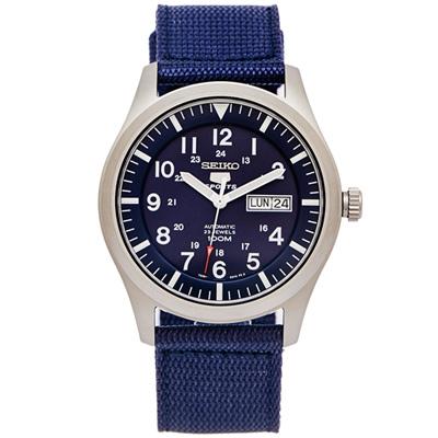 SEIKO-盾牌5號的帆布錶帶機械手錶-SNZG1