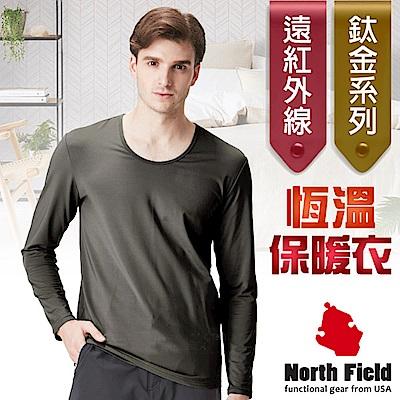 North Field 男 鈦金 遠紅外線+膠原蛋白圓領控溫內刷毛保暖衛生衣_炭灰