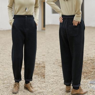 進口高端羊毛加厚黑色直筒休閒褲-設計所在