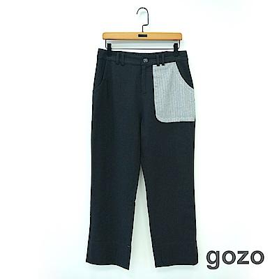 gozo 質感線條拼布九分棉麻褲(二色)