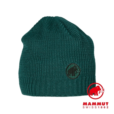 【Mammut】Sublime Beanie 刺繡LOGO保暖羊毛帽 深水鴨綠  #1191-01542
