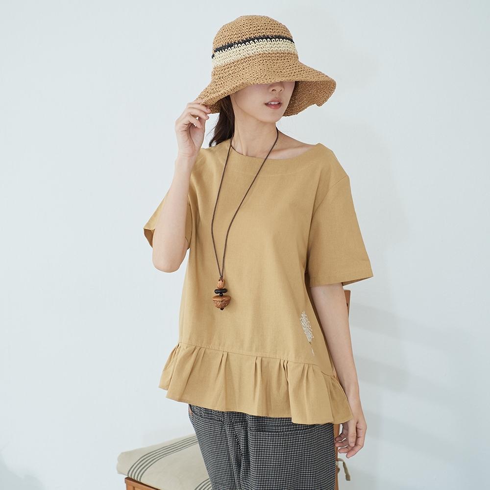 慢 生活 刺繡傘襬棉麻上衣- 黃