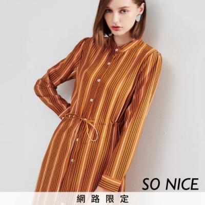 SO NICE優雅圓領開襟式雪紡條紋洋裝