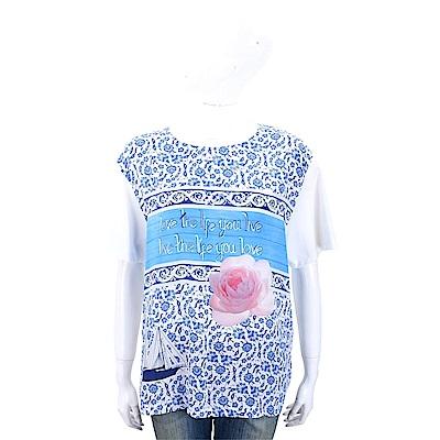 Max Mara-WEEKEND 滿版圖印白色玫瑰花棉質T恤