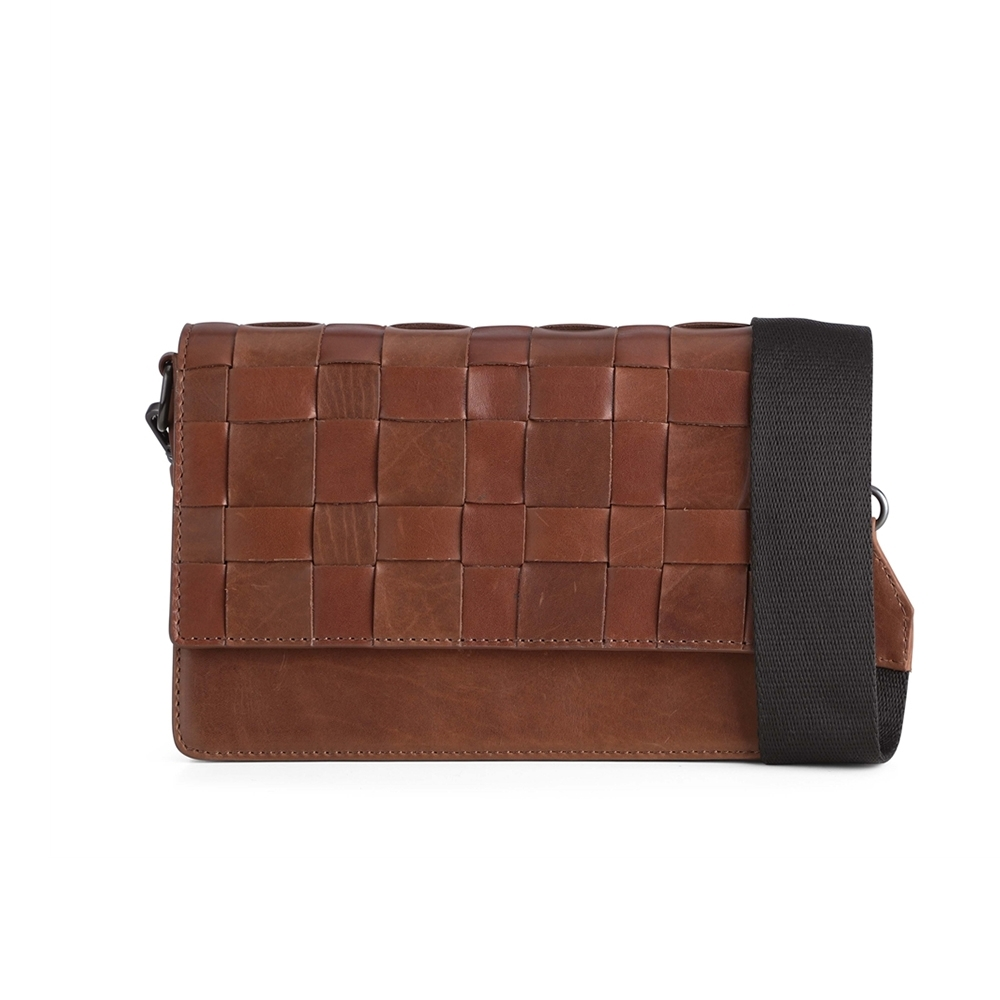 MARKBERG Margit 丹麥手工牛皮編織格紋馬吉特寬帶方包 斜背 肩揹包(古栗棕)