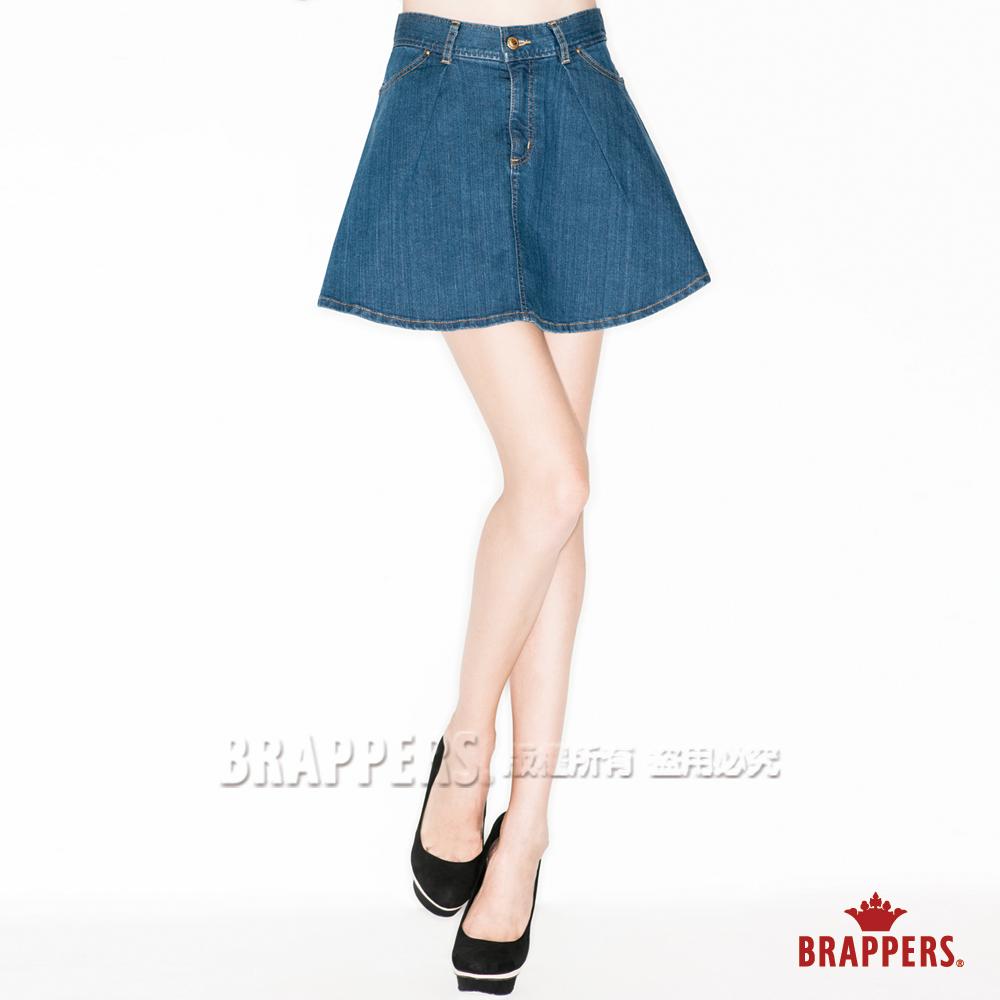 BRAPPERS 女款 Boy Friend Jeans系列-女用彈性高腰傘狀短裙-藍