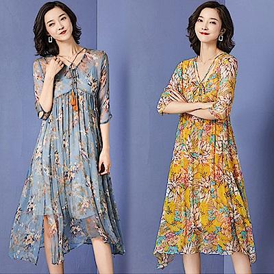 【韓國K.W.】獨賣款夏日漫遊短袖洋裝-2色