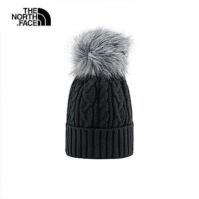The North Face北面黑色保暖毛球針織帽|3FJMJK3