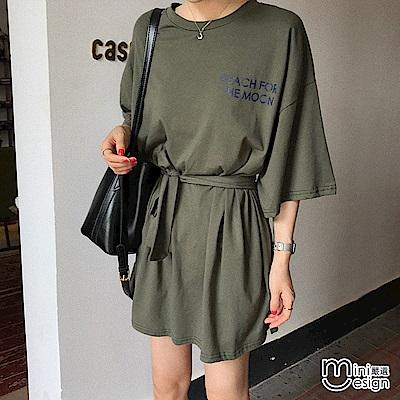 寬鬆長版字母T恤/連身裙 軍綠色(附綁帶)-mini嚴選