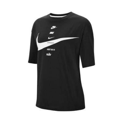 Nike T恤 NSW Short-Sleeve Top 女款 運動休閒 基本款 大勾勾 寬鬆 圓領 黑 白 CU5683010