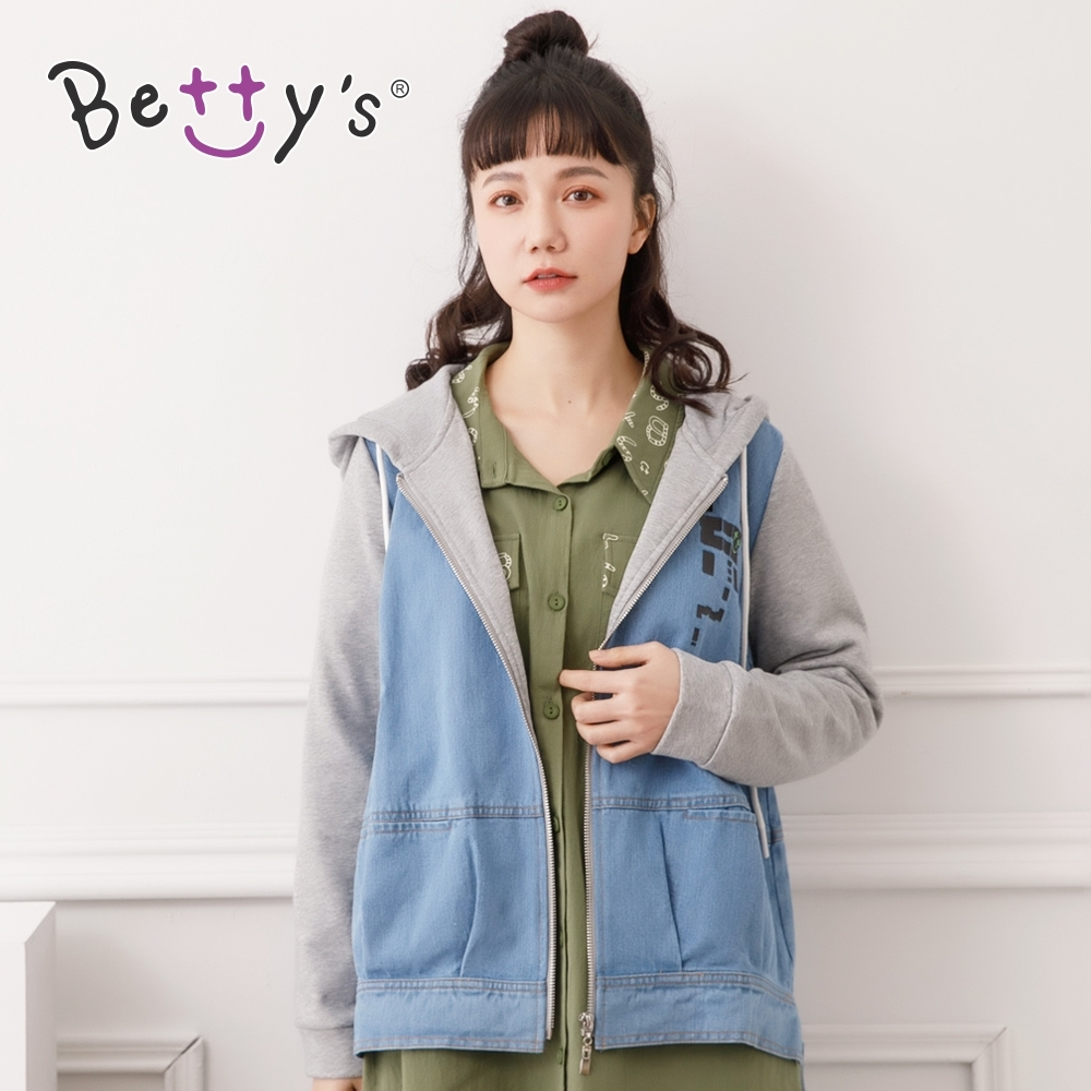 betty's貝蒂思 連帽棉質剪接牛仔外套(淺藍)