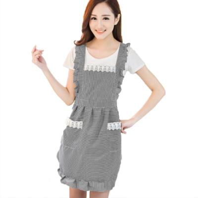 COMET 時尚韓版小格紋蕾絲圍裙(APN-01)