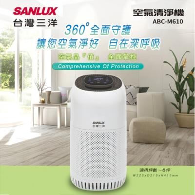 SANLUX台灣三洋  6坪 HEPA濾網空氣清淨機 ABC-M610