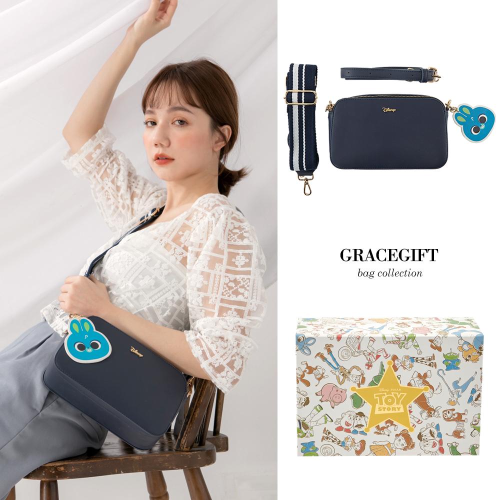 Disney collection by gracegift玩總雙背帶相機包 藍