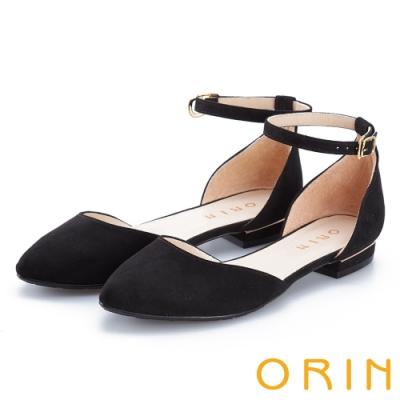 ORIN 典雅時尚 素面繫踝金屬釦帶尖頭低跟鞋-黑色