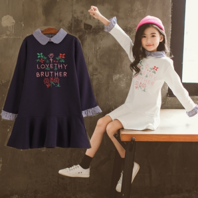 小衣衫童裝 中大女童秋款娃娃領印花長袖連身裙洋裝1080936