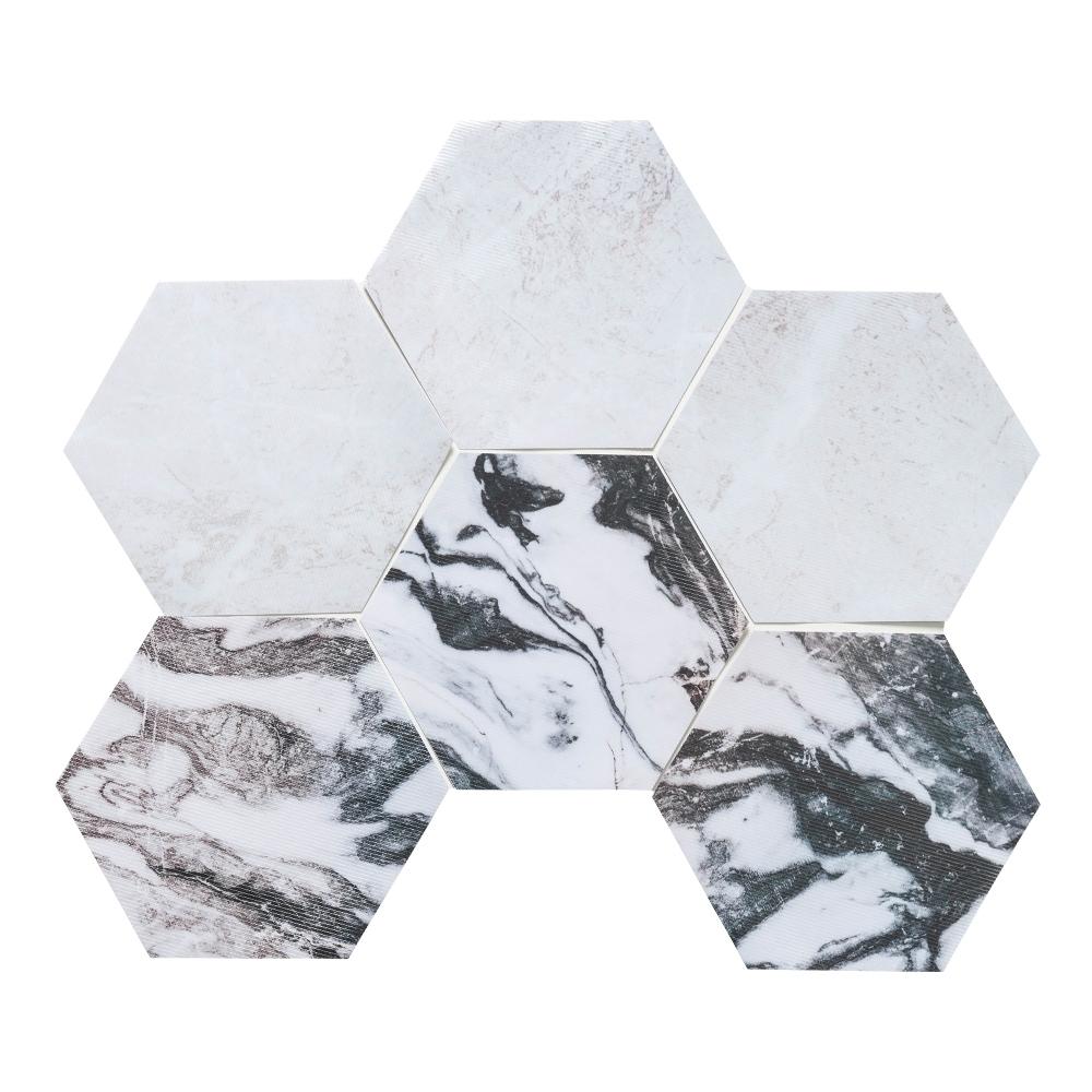 樂嫚妮 六角石紋牆壁貼紙-花崗岩紋理-20X23cmX10片-防水即撕即貼