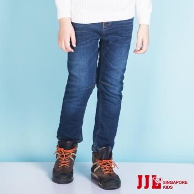 JJLKIDS 舒適彈力鬆緊腰修身內刷毛牛仔褲(牛仔藍)