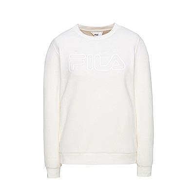 FILA 女款長袖圓領T恤-米白 5TES-5107-IV