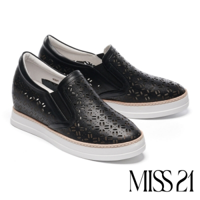 休閒鞋 MISS 21 日常百搭鏤空造型全真皮內增高休閒鞋-黑