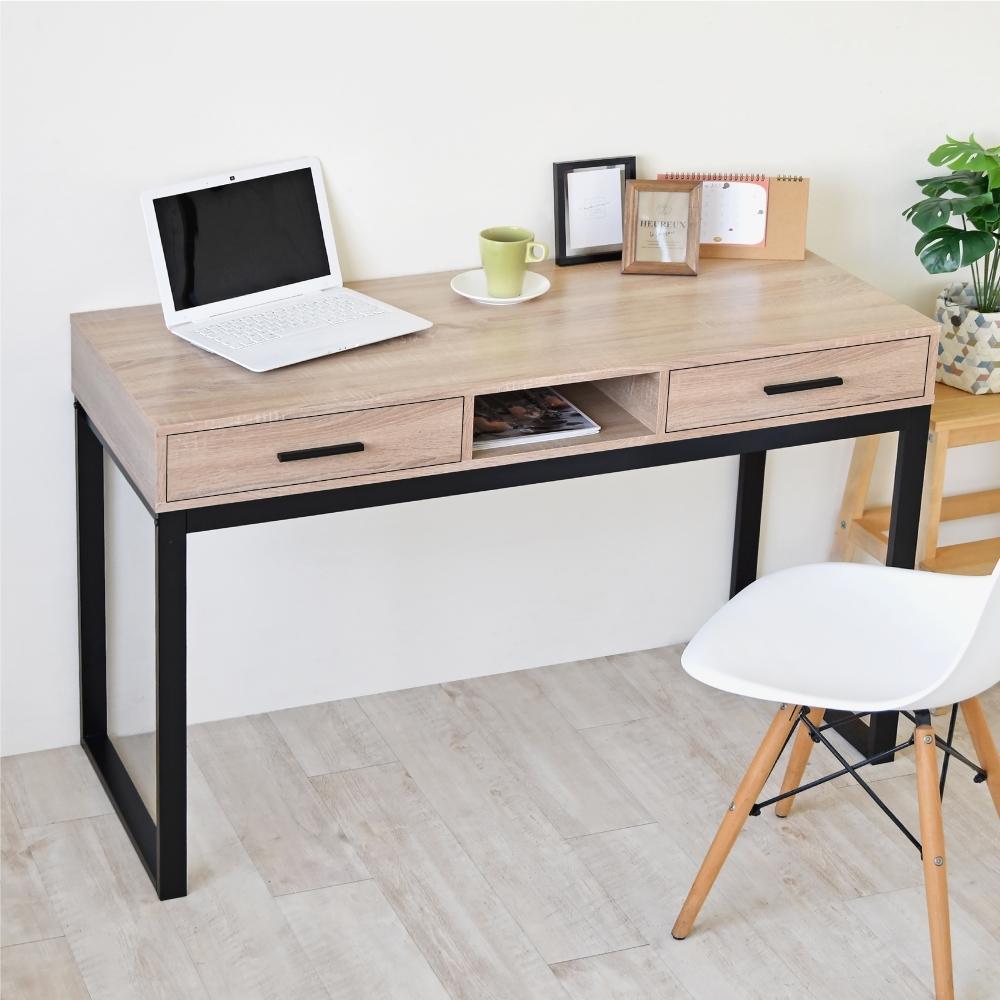 《HOPMA》DIY巧收美學質感雙抽一格書桌/工作桌/抽屜/收納-寬120x深50x高78cm