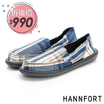 HANNFORT COZY可機洗格紋布氣墊休閒鞋-女-天空藍