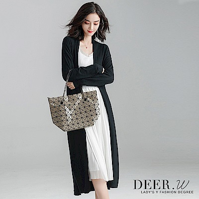 DEER.W 側開衩綁帶針織罩衫外套(黑) @ Y!購物