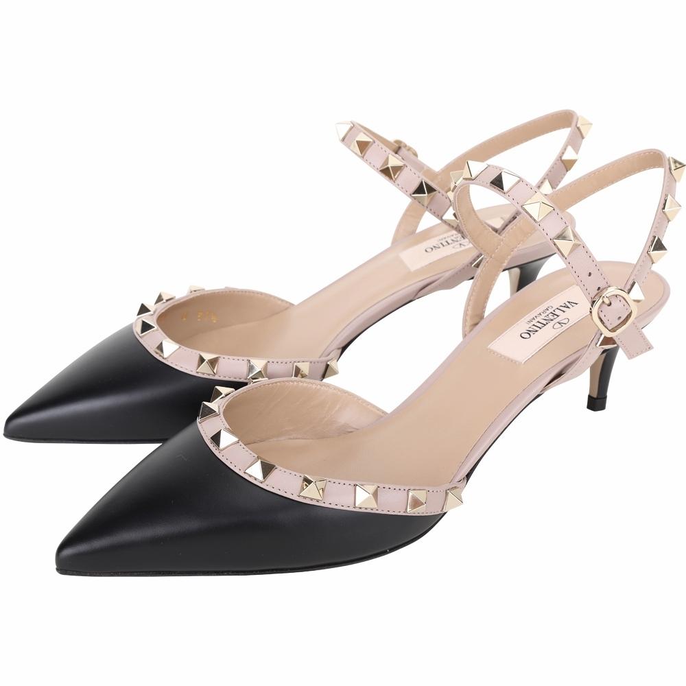 VALENTINO ROCKSTUD 撞色牛皮鉚釘尖頭低跟穆勒鞋/涼鞋(黑色)