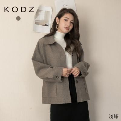 東京著衣-KODZ 知性女孩翻領排釦口袋寬版外套