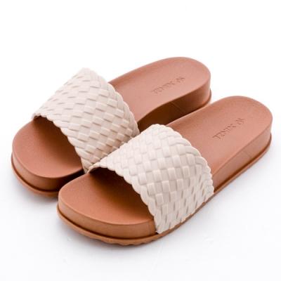 River&Moon拖鞋 一字寬版編織厚底防水拖鞋 米