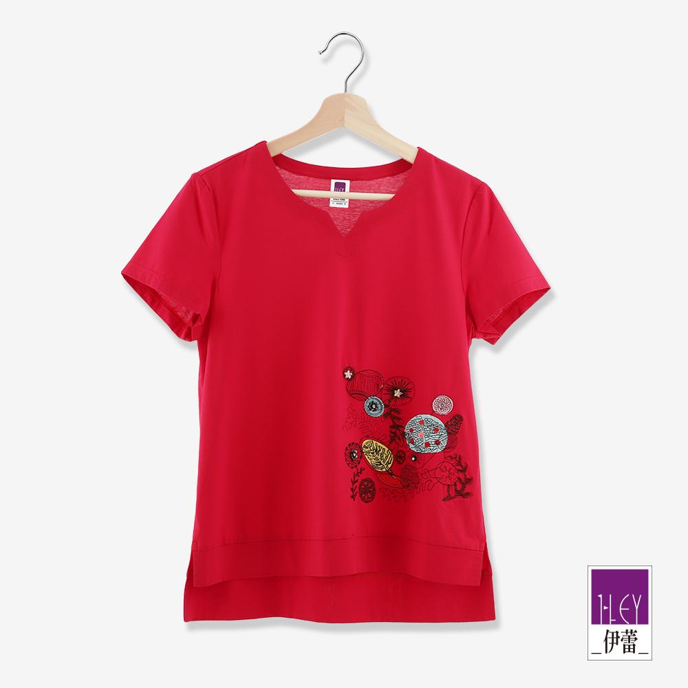 ILEY伊蕾 花植刺繡棉質上衣(紅)