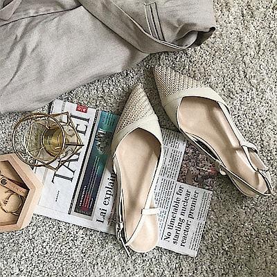 TMH-手工真皮編織低跟鞋