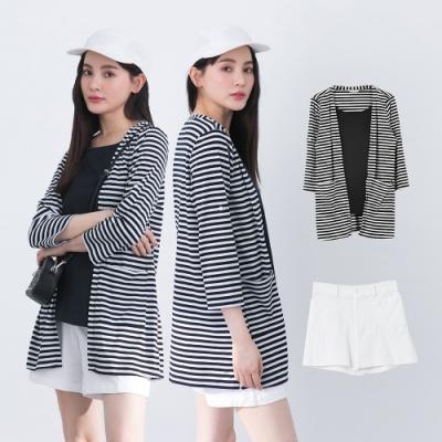 [時時樂限定]【KiKi】條紋假兩件休閒長袖-上衣(二色/魅力商品/版型寬鬆)