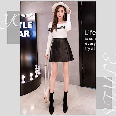 2F韓衣-雙排扣造型修身短裙-秒