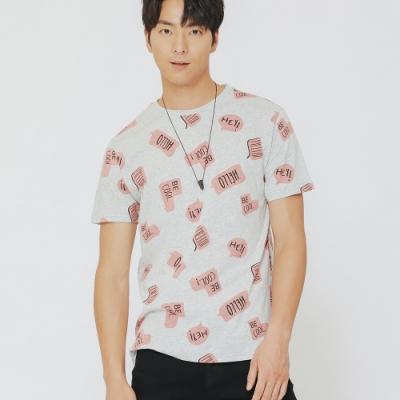 H:CONNECT 韓國品牌 男裝-塗鴉風文字T-shirt-灰(快)