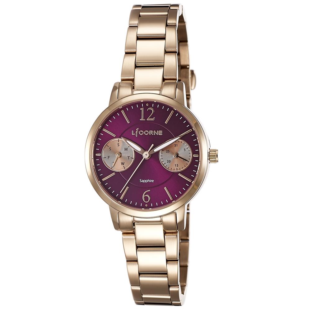LICORNE 力抗錶 花漾時光雙眼手錶-玫瑰金x紫/30mm