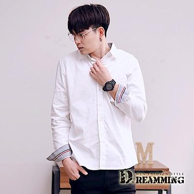 Dreamming 韓系顯瘦挺版口袋長袖素面襯衫-共二色