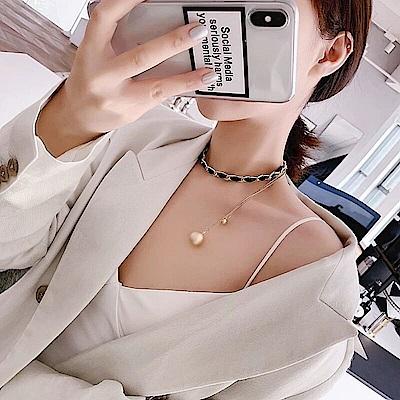 梨花HaNA 韓國鎖鏈時髦印象綴珍珠頸鍊