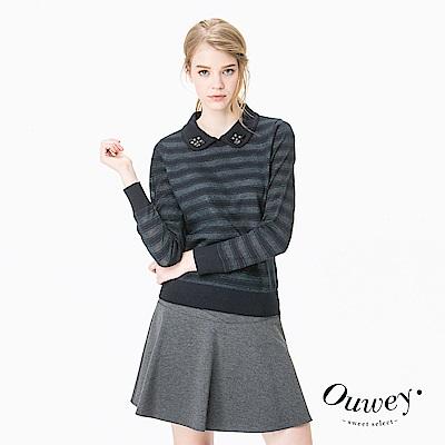 OUWEY歐薇 條紋金蔥造型領口手縫鑽飾針織上衣(藍)