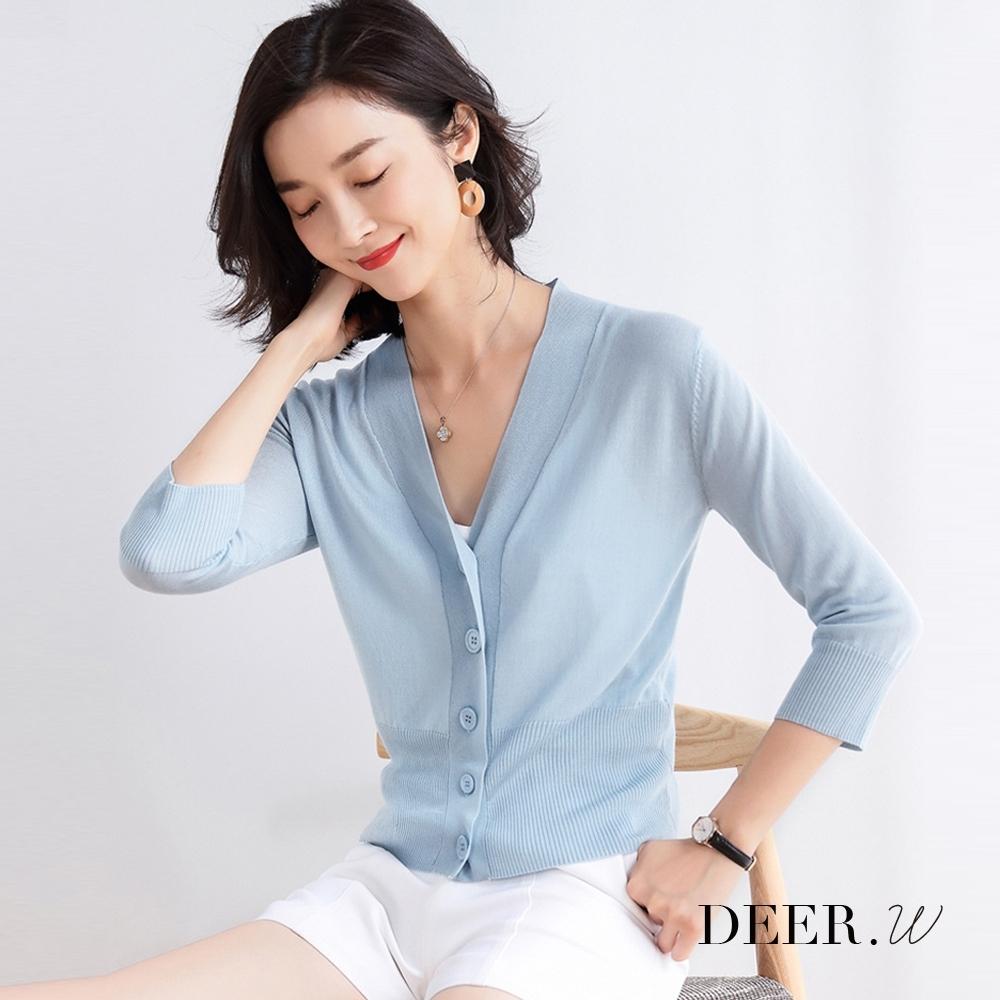 DEER.W 大V開襟羅紋針織外套(藍)