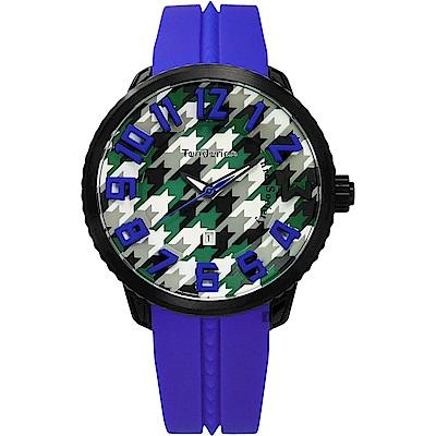 Tendence 天勢 Gulliver 千鳥格紋立體刻度手錶-藍/51mm