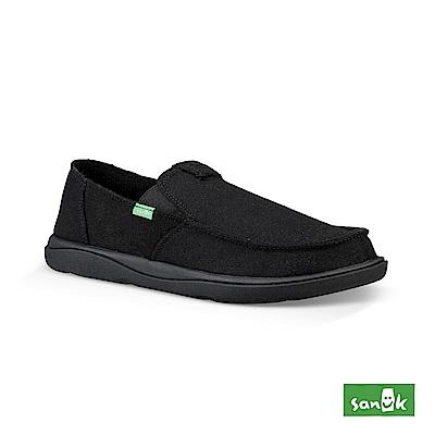 SANUK VAGABOND 內刷毛寬版帆布懶人鞋-男款(黑色)